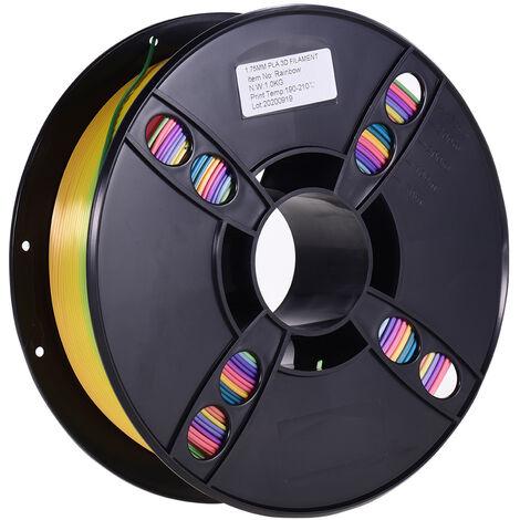 Filament D'Imprimante 3D Pla Normal Aibecy Consommables D'Impression Respectueux De L'Environnement Diametre De 1,75 Mm 1 Kg (2,2 Lb) Precision Dimensionnelle De La Bobine +/- 0,05 Mm, Couleur Arc-En-Ciel