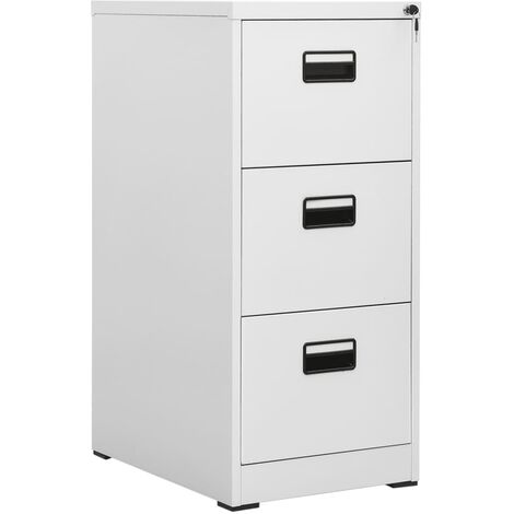 File Cabinet with 3 Drawers Grey 102.5 cm Steel