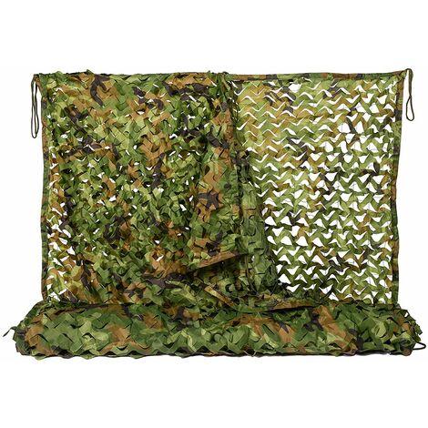 Filet de camouflage Woodland Camo Netting pour Camping Chasse Tir Filets de protection solaire militaires - 3,25 pi x 6,5 pi (1 mx 2 m)