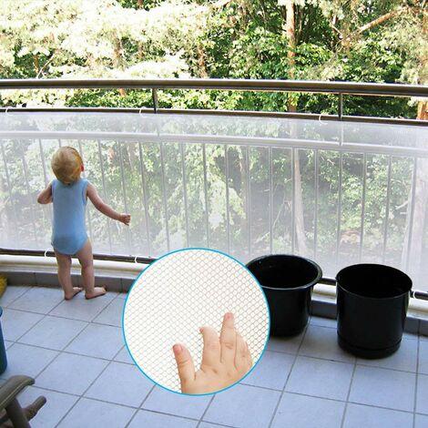 Filet de rail sûr de 9,8 pieds pour animaux de compagnie / enfants / jouets, filet de sécurité pour enfants, patios, balcon et garde-corps, filet d'escalier, matériau en tissu maillé robuste