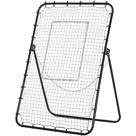 """main image of """"Filet de rebond de football pliable - inclinaison réglable 4 positions hauteur réglable - cible, piquets d'ancrage inclus - filet PE métal époxy noir"""""""