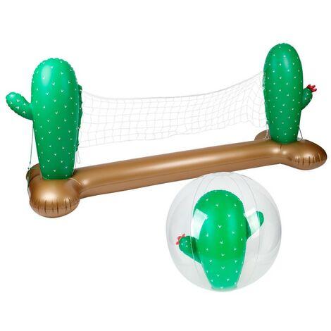 Filet de volley Gonflable et Flottant + Ballon Gonflable pour Piscine & Plage - Pack Sport Cactus - Multicolore