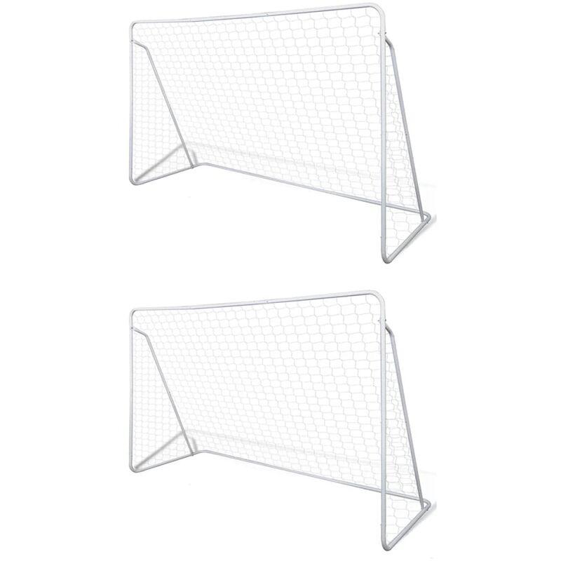 Filets de but de football Acier 2 pcs 240x90x150 cm