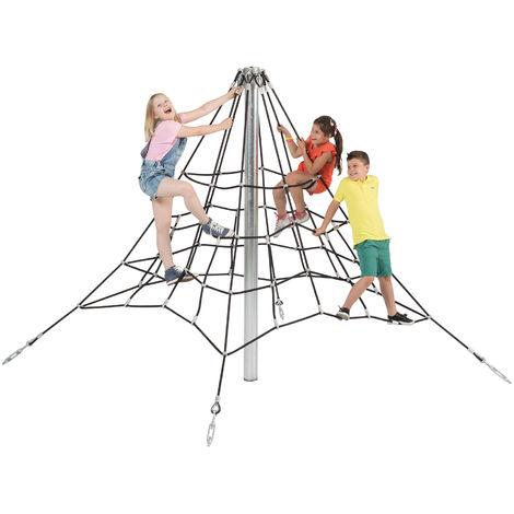 Filets de cordes à grimper en pyramide de 2m de hauteur, cordes noires