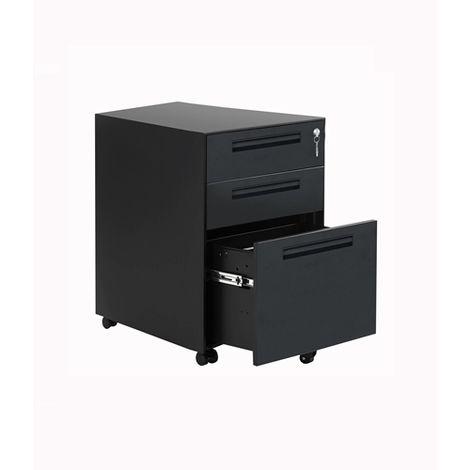 Filing Cabinet Steel 3 Drawers FCS07 Black