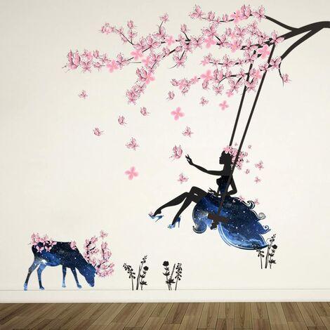 Fille sur Une Balançoire & Moose Silhouette Stickers Muraux avec Autocollant Mural Papillons Roses Décoration Amovible DIY Vinyle Mural Art Stickers pour Salon, Chambre
