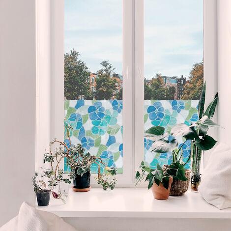 Film auto-adhésif pour vitre Madeira bleu 200 x 45 cm fleurs