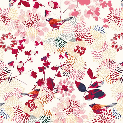 Film collant - Fancy Birds - Floral pattern with birds