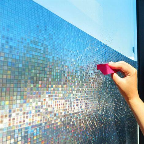 Film de fenêtre de confidentialité dépoli de mosaïque de 60 * 200 cm, film de verre statique opaque de couleur arc-en-ciel, feuille de fenêtre de vinyle de transfert de chaleur