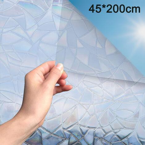 Film de fenêtre Film de confidentialité décoratif 3D sans colle autocollant en verre holographique pour porte en verre maison maison Ofiice contrôle de la chaleur Anti UV
