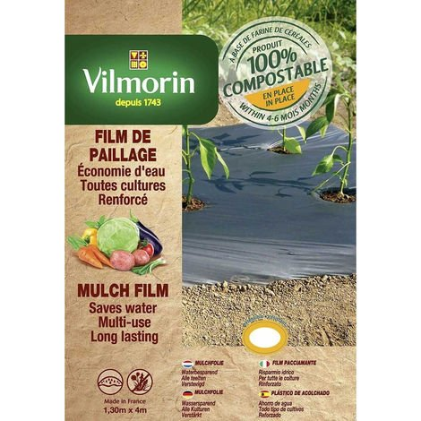 Film de paillage toutes cultures renforcé - farine de céréales - 1,30m x 4m - 35µm