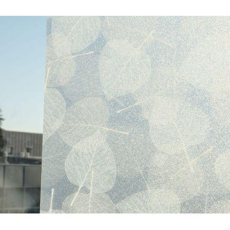 Film décoratif pour vitre vitrostatique Feuilles - 150 x 45 cm - Blanc