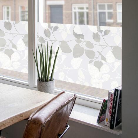 Film pour vitre vitro-statique décoratif extra-lisse Feuilles opaque blanc 150 x 45 cm feuilles