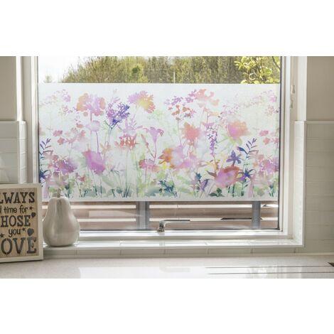 Film pour vitre vitro-statique décoratif extra-lisse Fleurs opaque blanc 150 x 45 cm fleurs