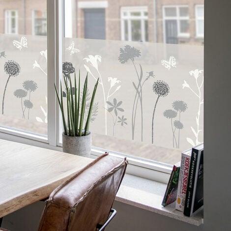 Film pour vitre vitro-statique décoratif extra-lisse Flower opaque blanc 150 x 45 cm fleurs