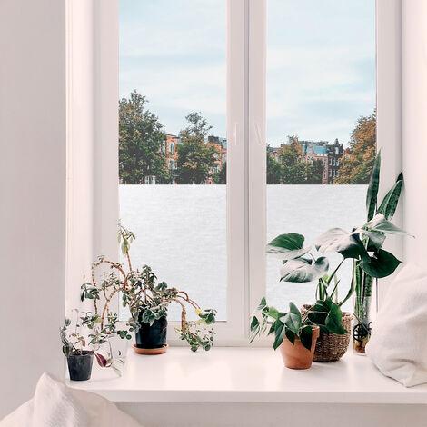 Film pour vitre vitro-statique décoratif Lignes opaque blanc 150 x 90 cm textile