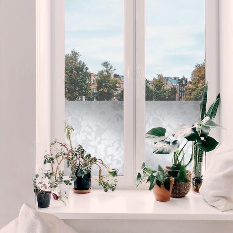 Film pour vitre vitro-statique décoratif Nature opaque blanc 150 x 90 cm feuillage