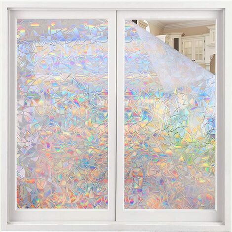Film pour vitres, auto-adhésif, opaque, film de protection, film de fenêtre 3D pour fenêtre, 45 x 100 cm, écran de confidentialité, film de verre, adhésif statique, protection UV sans adhésif, film décoratif