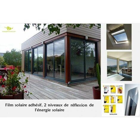 Film Solaire adhésif pour fenêtres Effet Miroir argenté Taille au Choix, film pour vitrage pose intérieure, pose facile - Sol 150 - 100cm - 150cm. - Sol 150