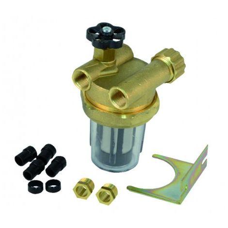 "Filter fuel 2 pipes block valve ff3/8"" inox sieve"