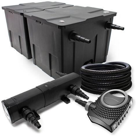 18W UVC Kl/ärer Skimmer 80W Pumpe Schlauch,Font/änenpumpe u Filter Set aus Bio Teichfilter 60000l