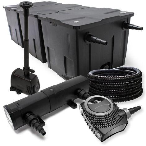FilterSet: Bio Teichfilter bis 90000l, UV Klärer mit 36W, 80W Pumpe, Skimmer und Springbrunnenpumpe