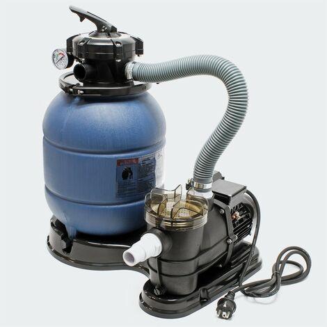 Filtre à Sable Avec Pompe, Pour Piscines Hors sol, Vanne 5 Voies - Bleu