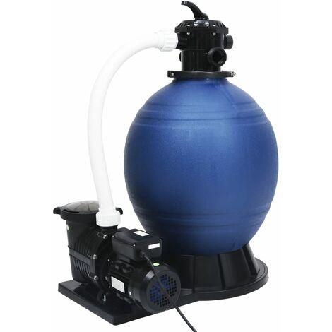 Filtre à sable avec vanne 7 voies et pompe 1000 W Bleu et noir