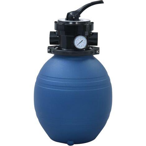 Filtre à sable pour piscine avec vanne 4 positions Bleu 300 mm