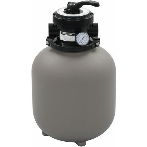 Filtre à sable pour piscine avec vanne 4 positions Gris 350 mm