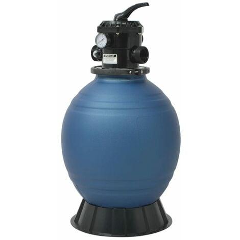 Filtre à sable pour piscine avec vanne 6 positions Bleu 460 mm