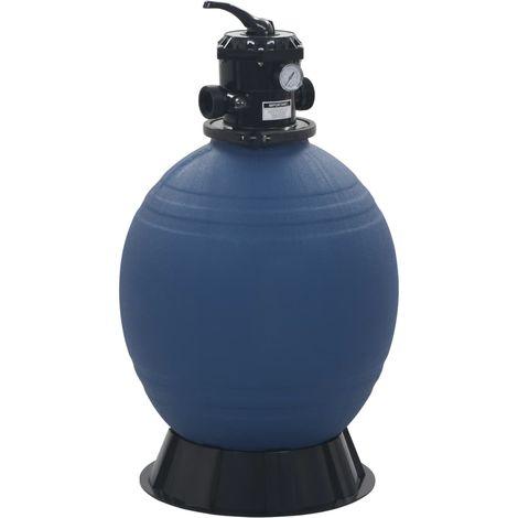 Filtre à sable pour piscine avec vanne 6 positions Bleu 560 mm