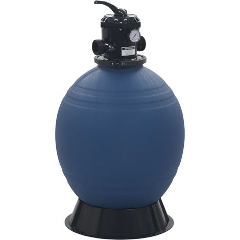 Filtre a sable pour piscine avec vanne 6 positions Bleu 560 mm