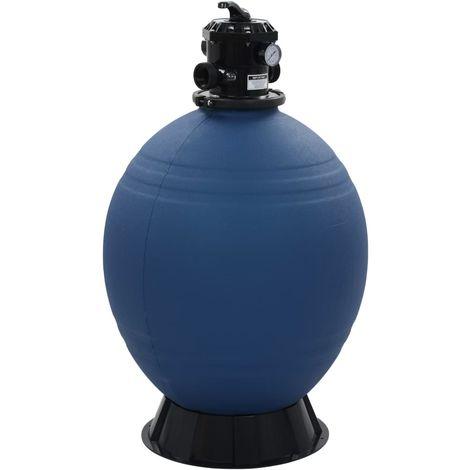 Filtre à sable pour piscine avec vanne 6 positions Bleu 660 mm