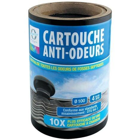 Filtre anti-odeurs Ø100 pour fosses septiques, poste de relevage, toutes eaux – Cartouche active - INTERPLAST