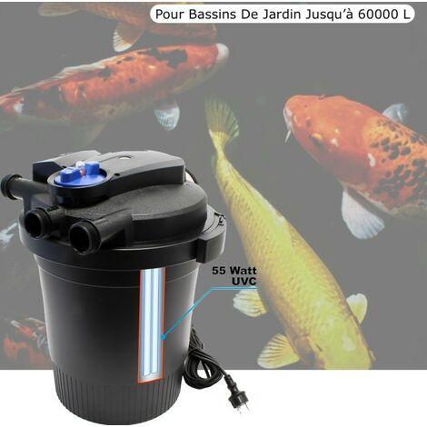 Filtre Bassin De Jardin Sous Pression, UV 55W, Max 60000L, Modèle 2017