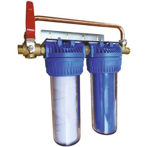 Filtre double avec cartouches de filtration et anticalcaire anticorrosion 24 mois