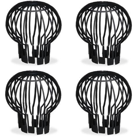 Filtre gouttière, lot pratique de 4, plastique, crépine, protection, écoulement de l'eau, Ø 13 cm, noir