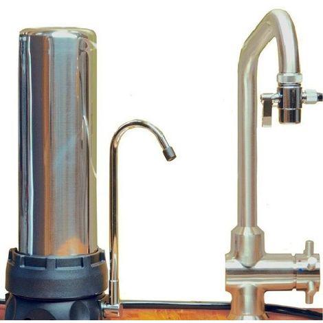 Filtre INOX sur évier avec une cartouche XM + EMX - HYDROPURE