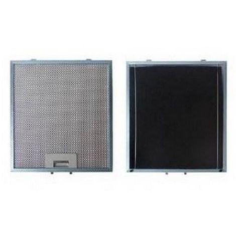 Filtre métal anti graisse (à l'unité) + charbon 303x278mm (74X1648) Hotte 97625 SAUTER, BRANDT, FAGOR