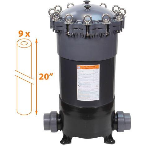 Filtre multi-cartouches - 9 x 20 pouces - FHPVC-20x9-B Crystal Filter®