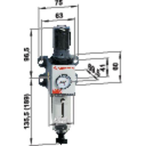 Filtre régulateur avec manomètre 0 bar (min) filtre 5 µm Norgren B92G-NNK-QT1-RMG