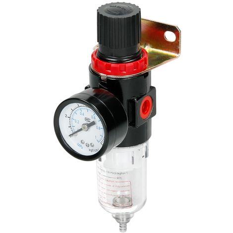 Filtre régulateur d'air pneumatique avec manomètre séparation piège huile / eau