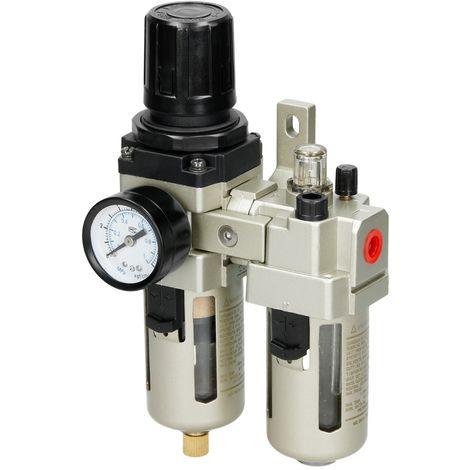 """Filtre régulateur d'eau et huile pour compresseur 1/4 """" régulateur de pression"""