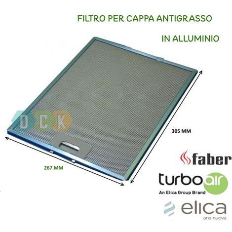 FILTRO CAPPA ALLUMINIO METALLICO 267X305X9 MM ELICA ANTIGRASSO FABER ...