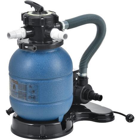 Filtro de arena con Bomba - 400 W - Diámetro del filtro 30 cm - Accesorio para Piscina Jacuzzi - hasta 20 kg de Arena - Válvula con 5 funciones - Equipo limpieza - Depuradora de Agua - Azul