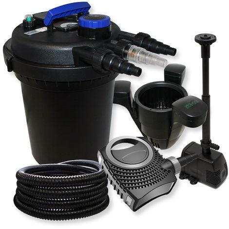 Filtro de presión de 10.000l filtro Clarificador UVC con 11W 70W bomba Fuente y skimmer jardin