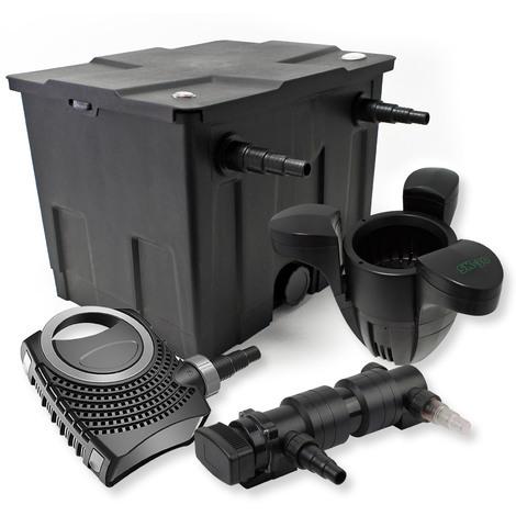 Filtro set estanque 12000l 18W UVC Clarificador NEO8000 70W Bomba Skimmer jardin
