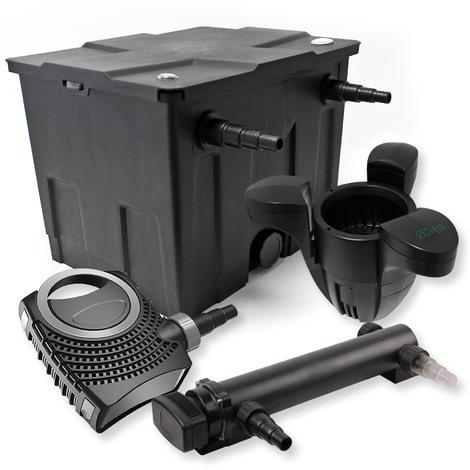 Filtro set estanque 12000l 24W UVC Clarificador NEO8000 70W Bomba Skimmer jardin