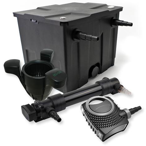 Filtro set estanque 12000l 36W UVC Clarificador NEO10000 80W Bomba Skimmer jardin